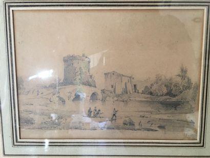 Ecole FRANCAISE, 1830  Pêcheurs près d'un...