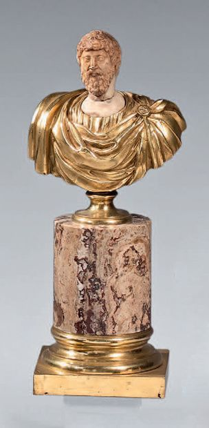 Bust of a Roman Emperor, the toga in chased...