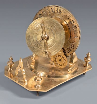 Mechanical minute dial in engraved brass;...