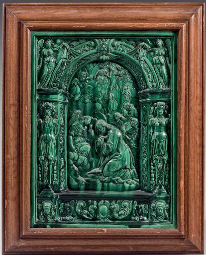 Glazed earthenware panel with green glaze...