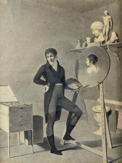 École FRANÇAISE vers 1810, entourage de François Louis DEJUINNE Painter in his studio...
