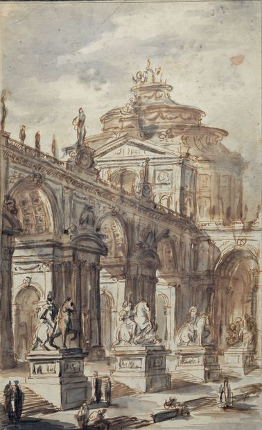 Attribué à Juste Nathan BOUCHER (1736-1782) Italian colonnade Italian palace staircase...