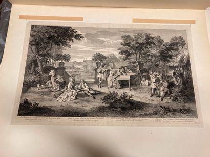 Bernard PICART (1673-1733) À l'Ombre des bosquets, un concert Etching and burin....