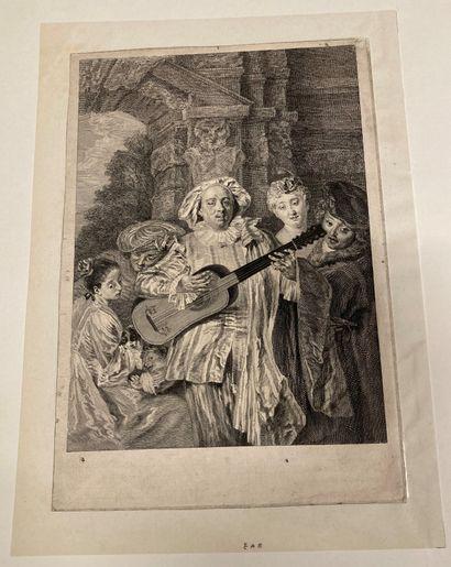 Jean-Antoine Watteau (1684-1721) Under a Mezzetin suit - Mezzetin Engraved by Thomassin,...