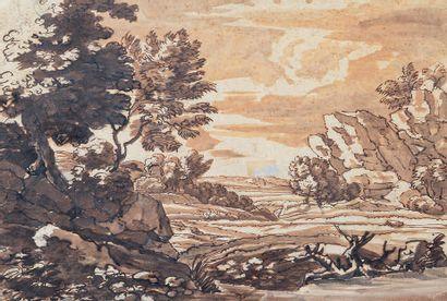 École FRANÇAISE vers 1700, suiveur de Claude GELLÉE dit LE LORRAIN Rocky landscape...