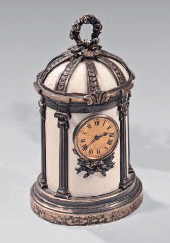 Meeting of two chased silver clocks with...
