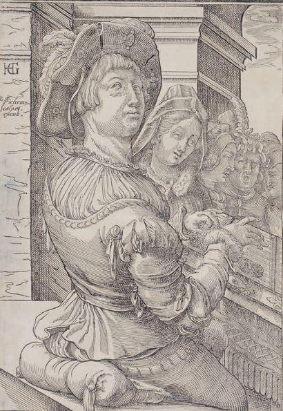 Christophe VAN SICHEM (1580-1638) Clavichord player after H. Goltzius Wood engraving....