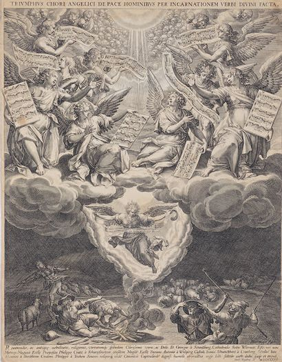 JOHANNES SADELER I (1550-1600) The Annunciation to the Shepherds Burin after Martin...