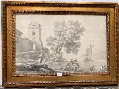 Joseph VERNET (Avignon 1714 - Paris 1789) Fishermen pushing a boat Fishermen pulling...