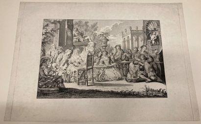 Jean DUPLESSIS-BERTAUX (1750-1818) d'après Scène de Concert devant un palais Engraved...