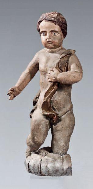 Draped angel in grey wood. France, 18th century....