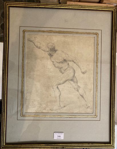 Ecole FRANCAISE vers 1800 The Borghese Gladiator Black stone. 20 x 17,5 cm Our drawing...