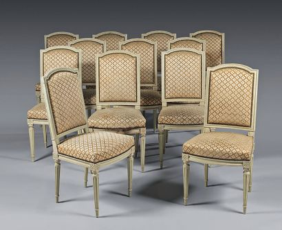Suite of twelve moulded, carved and lacquered...
