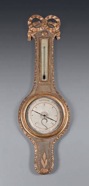 Barometer-thermometer in moulded, carved,...