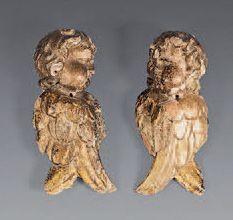 Paire de têtes d'anges ailés éléments décoratifs...