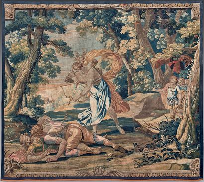 Tapestry representing a violent fight of...