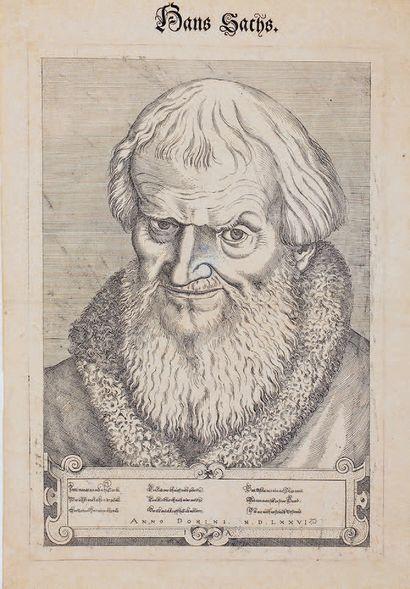 Jost AMMAN (1539-1591) Hans Sachs German poet Etching after Heemeysen. A very fine...
