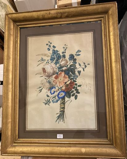 S. BELLANGER (actif dans la première moitié du XIXe siècle) Bouquet of flowers Pair...
