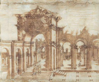 École FRANÇAISE du XVIIIe siècle, d'après Jacques ANDROUET du CERCEAU Landscape of...