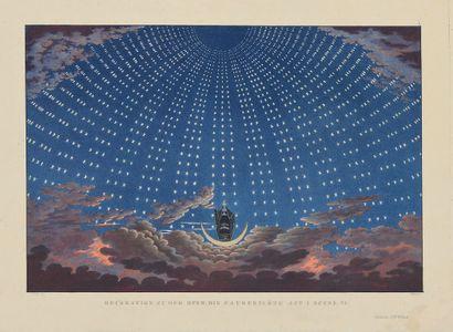 "Karl Friedrich SCHINKEL (1781-1841) Set for ""The Magic Flute"" act I scene VI, engraved..."