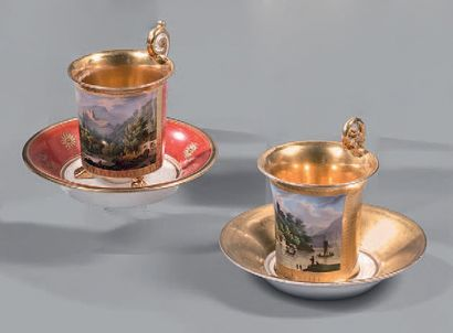 Two cups and saucers in porcelain of Paris...