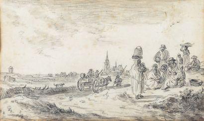 École HOLLANDAISE du XVIIe siècle, suiveur de Jan van GOYEN Women and children by...