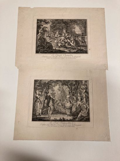 Charles EISEN (1720-1778) d'après The Country Ball - The Country Concert Engraved...