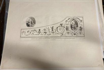 Jean-Antoine WATTEAU (1684-1721) d'après Arabesque, harpsichord top Engraved by Caylus....