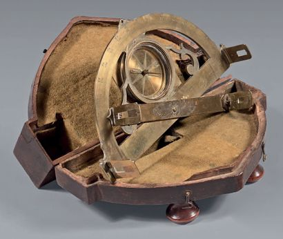 Brass graphometer with pierced and engraved...