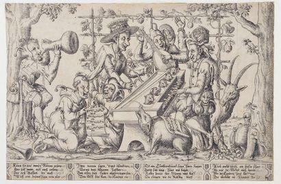 Johann KELLERTHALER (1560-1638) attribué à Concert de chats Eau-forte. Belle épreuve...