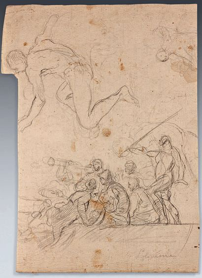 Francesco SOLIMENA (Canale di Serino 1657 - Barra 1747) Study of soldiers and various...