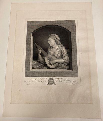 Jean-François de TROY (1679-1752) d'après L'Aimable accord With : Joueuse de cistre...