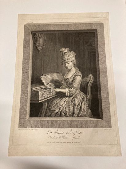Juste CHEVILLET (1729-1802) The English girl touching the piano-forté Engraved after...