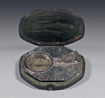*Fine engraved silver sundial; the style...