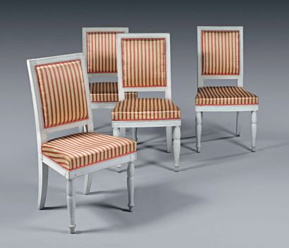 A set of four moulded, turned and grey relacquered...