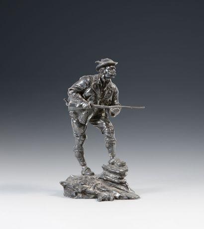 Le chasseur montagnard. Sculpture en composition....