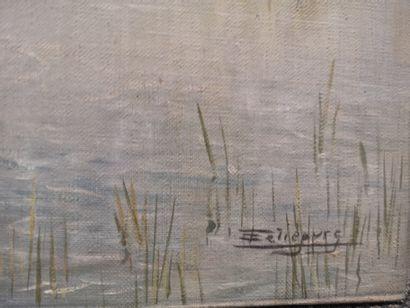 Eugène LELIEPVRE. En Camargue. Gardians et flamands roses. Huile sur toile signée...