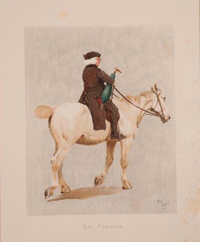 Cecil ALDIN. The Parson. Rare gravure en couleur signée et datée 1901 dans la planche...