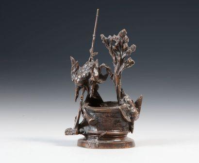 Ferdinand PAUTROT (1832-1894). Le puits. Bronze à patine brune signé en creux sur...