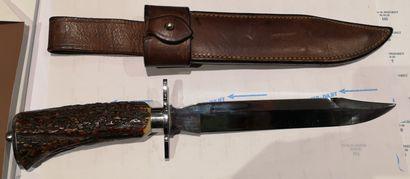 Rare couteau de chasse droit J. MONGIN. Lame...