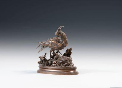 Henri Emile TRODOUX (1815-1881). Vanneau huppe et la grenouille. Bronze à patine...