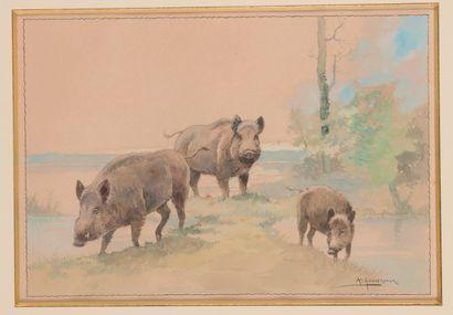 Arthur GOUVERNEUR (1852- ?). Les Sangliers....