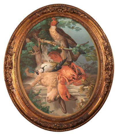 Nature morte au rapace chaperonné, au lièvre, au pic, et au homard. Gravure en couleurs...