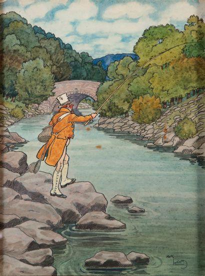 HARRY ELIOTT (1882 - 1959). Le pêcheur. Aquarelle sur papier signée en bas à droite...