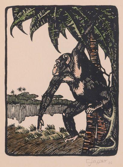 Gaston SUISSE (1896 – 1988). Chimpanzé. Gravure...
