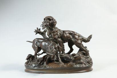 Ferdinand PAUTROT (1832-1894). Griffon et braque. Bronze à patine brune signé en...