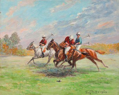 Eugène PECHAUBES (1890-1967). La partie de polo. Huile sur toile non encadrée signée...