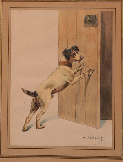Charles de CONDAMY (c.1855-1913). Chien à la porte. Aquarelle sur papier signée...