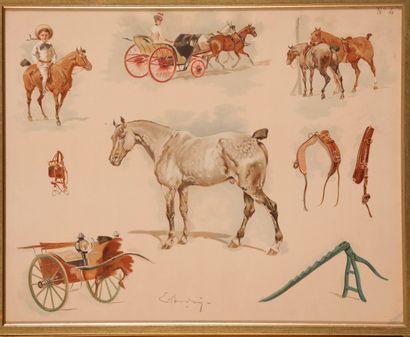 Ernest BODOY. Autour du cheval. Planche en couleurs encadrée. Dim.: 43.5 x 54 cm...