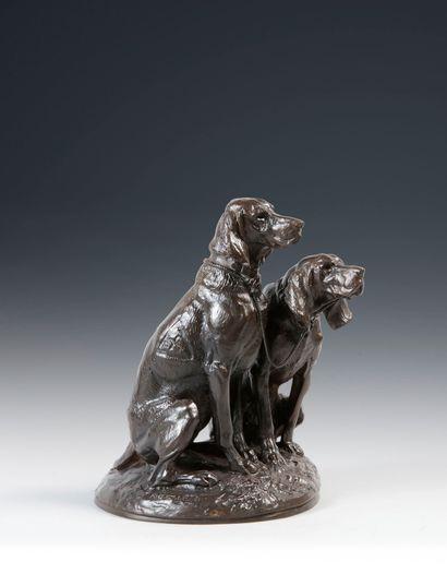 Emmanuel FREMIET (1824 - 1910). Chiens de la vénerie impériale. Bronze à patine...